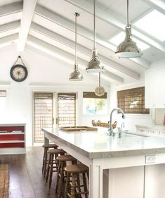 Discover the best nautical themed pendant lights and hanging ceiling light fixtures for your beach home. Cottage Kitchen Decor, Beach Cottage Kitchens, Beach Cottage Decor, Coastal Decor, Kitchen Lighting Fixtures, Ceiling Light Fixtures, Bathroom Lighting, Nautical Lighting, Beach Lighting
