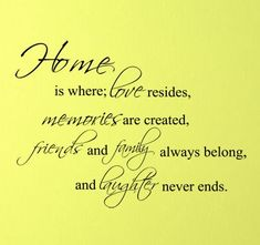 Home Is where is Love resides ~ Family Quote
