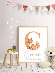 Fox Nursery, Floral Nursery, Nursery Signs, Room Signs, Nursery Wall Decor, Nursery Prints, Wall Signs, Wall Art Prints, Baby Wall Art