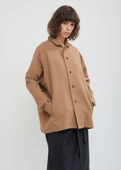8e28103f7eaf Wool and Cotton Shirt Jacket - X-Small   Mekong Beige
