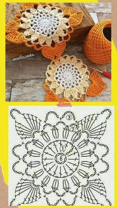 Crochet Coaster Pattern, Crochet Doily Diagram, Crochet Motif Patterns, Granny Square Crochet Pattern, Crochet Mandala, Crochet Chart, Crochet Squares, Thread Crochet, Crochet Doilies