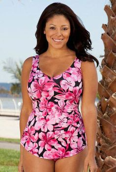 11d673e2ef954 Plus Size Sarong Front - Beach Belle Honolulu Pink Sarong Front Swimsuit.  Fashionable Women