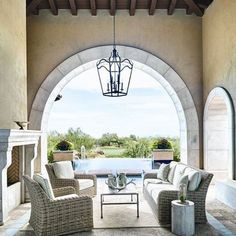 The architectural detail in this outdoor room abound by @phxarch.  Talk about a dream space!!! #phx #phxaz #arizona #outdoorliving #pool #architecture #interiordesign #interior #interiors #texas #fireplace #lighting #veranda #backyard #patio #deck #desert