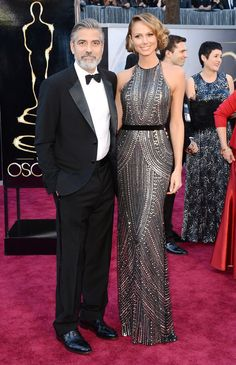 George Clooney and Stacy Kiebler look stunning on the red carpet! dress by Naeem Khan