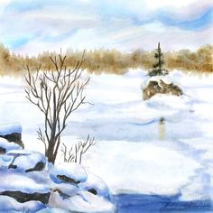 """Snow Study Two"" - Digital Watercolour, in Snowy Landscapes Painting Snow, Winter Art, Creative Art, Study, Watercolors, Hamilton, Landscapes, Outdoor, Digital"