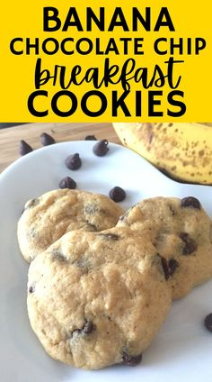 These banana chocolate chip breakfast cookies are such a a tasty breakfast treat! Enjoy these healthy breakfast cookies - which have more protein than your average cookie - on busy school mornings or when you're running out the door to work!