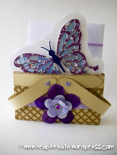 Too cute purple and lavendar butterfly card and 'basket'.  The paper pieces were cut on a KNK digital die cutting machine.