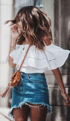 White off the shoulder top & denim skirt.