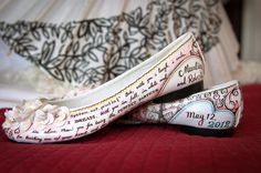 i asked to have my vows painted on my wedding shoes. custom-painted wedding flat shoes by figgieshoes.com. (bobmarlin wedding)