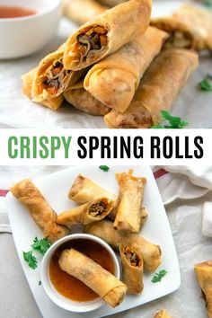 Better than takeout, these Crispy Spring Rolls are full of the flavors you love! Cabbage, carrots, and mushrooms come together in these traditional Vietnamese fried spring rolls, and are the perfect complement to any Asian dinner! Lunch Snacks, Clean Eating Snacks, Asian Appetizers, Appetizer Recipes, Vietnamese Fried Spring Rolls, Thai Spring Rolls, Crepes, Chicken Spring Rolls, Egg Roll Recipes