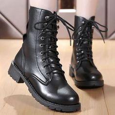 Ankle boots for women fleeces motorcycle boots comfortable leather boots Chunky Heel Ankle Boots, Heeled Boots, Calf Boots, Women's Boots, Snow Boots, Winter Boots, Leather Lace Up Boots, Motorcycle Boots, Motorcycle Leather