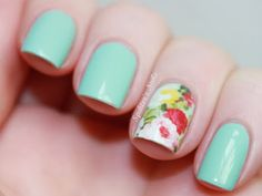 Pretty floral accent nail. See more nail art designs here >>  http://nailartdesignsidea.com/   #nailart #nails #DIYnails #DIY #inspiration #ideas #NOTD Accent Nails, Hair And Nails, My Nails, How To Do Nails, Flower Nails, Nail Care, Pretty Nails, Nail Art Designs, Floral Nail Art