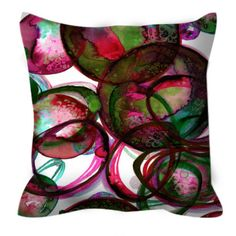 WORLDS COLLIDE Red Green Colorful Xmas Art Suede Decorative Throw Pillow Cover by EbiEmporium #Christmas #homedecor #xmasdecor #festive #pillow #cushion #cushioncover #red #green #colorful #geometric #watercolor #abstract #suede #xmas #holidaydecor