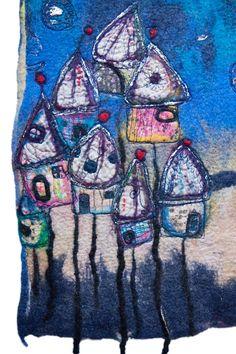 Tableau art textile collage ville enchantée par ArianeMariane, €350.005