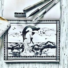 Day 14 #inktober2016 *free* instead of *tree* 🙈 . So was passiert, wenn man die Prompt List und Bulletjournal überträgt und nicht schön schreibt... da habe ich mich verlesen!! #ichlassdasjetztso .  #free #freewilly #orka #orca #sea #meer #orcaillustration  #inking #drawing #drawingoftheday #drawingchallenge  #drawinginspiration #tinte #micronpen #pentel #pentelpocketbrush @inktober