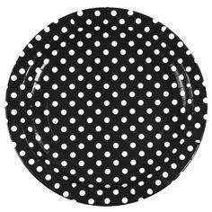 Assiette carton noir à pois blanc 23 cm - 10 assiettes noires à pois blanc plates rondes plastifié, déco de table.