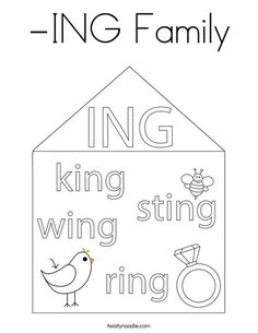 Family Coloring Pages, Ing Words, Mini Books, Colouring, Spelling, Wings, Education, Gift, Feathers