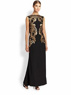 Tadashi Shoji Embellished Metallic-Lace Gown on shopstyle.com