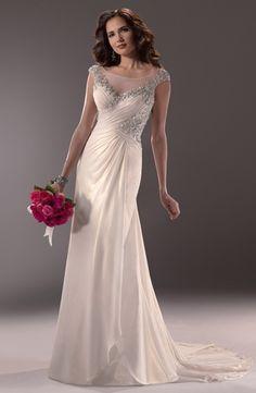 c0276a95fb37 Illusion Sheath Wedding Dress with Asymmetric Waist in Chiffon. Bridal Gown  Style Number:32786857