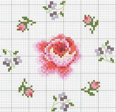 cross stitch chart(sweet roses).. de roos vergroot op de muur met zilverglitter er overheen