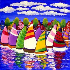 Summer Sailboats Trees Houses Waterfront Canvas Folk Art Colorful Whimsical Original Painting