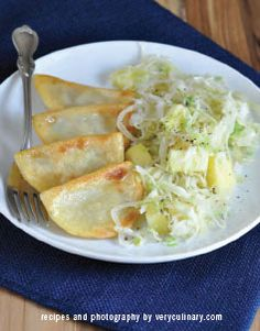 Potato and Cheese Pierogi with Sautéed Cabbage and Apples | Prep Time: 10 minutes, Cook Time: 10 minutes, Serves 4 | recipe and photograph by veryculinary.com