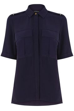 All | Blue MILITARY SHIRT | Warehouse. Tucked into denim or white jeans. Worn with a blazer or camel coloured Mac