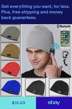 734532da528 Men Smart Wireless Bluetooth Music Warm Knitted Beanie Hat Headphones Cap  LOT DP