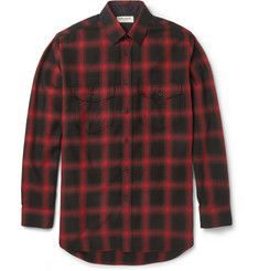 Saint Laurent Plaid Cotton-Blend Flannel Shirt £425