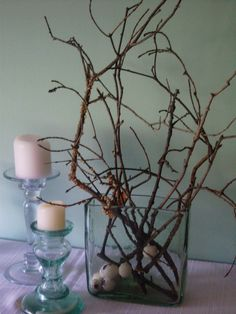 Twisted twigs in a cool vase make a great centerpiece...cost: free!