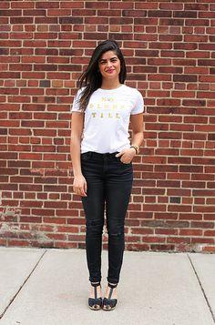 Spring outfit! DIY Beastie Boys Graphic Tee + black skinny jeans + black clogs.