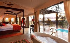 Elephant Camp, suite interior, 2012 Safari Awards finalist, Best New Safari Camp in Africa Jacuzzi, Chutes Victoria, Les Seychelles, Architecture Design, Elephant Camp, Chobe National Park, Villa, Viewing Wildlife, Victoria Falls