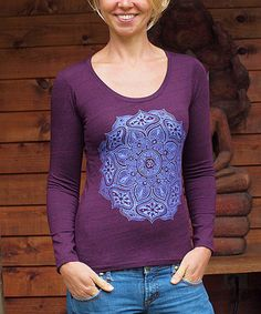 Look what I found on #zulily! Dark Purple Mandala Scoop Neck Top #zulilyfinds
