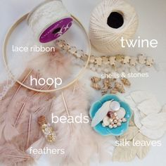 Supplies for DIY dreamcatcher by February Sky Designs