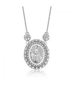 colar nossa senhora aparecida de prata semi joias