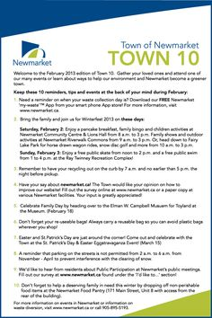 """Welcome to the February 2013 edition of """"Town 10""""."""