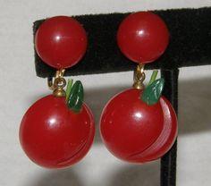 BAKELITE Carved Cherry Cherries Fruit Dangle Drop Earrings
