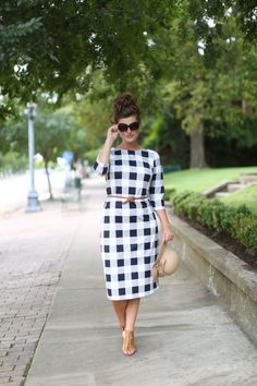 Modest Fashion | Modest Bridesmaid Dresses | Black Gingham Summer in Nantucket Layering Dress