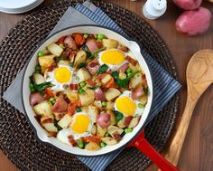 This potato skilletwith baked eggs is a meal worth waking up for. Hearty and delicious, this recipe can be enjoyed beyond breakfast for brunch, lunch and even dinner. Created in only five steps with one pot, we're guessing this will soon be a popular eat for everyone in your...
