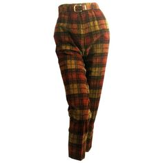 vintage Spice Hued Plaid Tapered Corduroy Belted Capri Pants 1960s 24 ❤ liked on Polyvore featuring pants, capris, legs, trousers, brown pants, brown plaid pants, vintage corduroy pants, cigarette pants and vintage capri pants