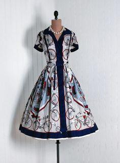 Dress, 1940s, Timeless Vixen Vintage. Bikes!