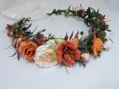 Items similar to Orange Flower crown , Fall wedding ,Wedding fall flower crown ,Autumn Floral crown,Bridal hair accessories on Etsy - Ukraine Flowers Delivery