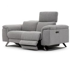 Sit back in total comfort in this reclining loveseat with adjustable headrests and footrests. Leather Reclining Loveseat, Shape Of Your Body, Structure Metal, Modern Fabric, Foot Rest, Decoration, Recliner, Comforters, Love Seat