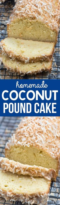 Homemade Coconut Pound Cake is an easy loaf cake full of triple the coconut flavor! It's soft and sweet and the perfect pound cake for coconut lovers. via @crazyforcrust @almondbreeze #poundcake #coconut #ad