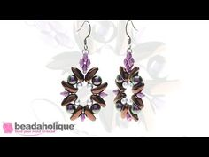 How to Bead Weave the Dahlia Earrings with 2-Hole Chilli Beads  ~ Seed Bead Tutorials