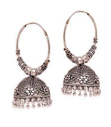 Buy Jaipur Oxidised Black Metal Silver Plated Bali Jumki Style Earrings jhumka online