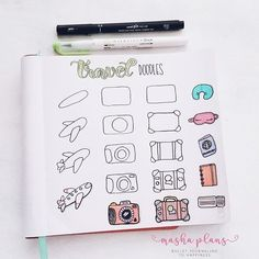 Masha ( how to doodle travel related things. Cute little doodles to add to your next travel journal. : Masha ( how to doodle travel related things. Cute little doodles to add to your next travel journal. Bullet Journal Instagram, Bullet Journal Titles, Bullet Journal Travel, Bullet Journal Banner, Bullet Journal Notebook, Bullet Journal Aesthetic, Travel Journal Pages, Doodle Art For Beginners, Travel Doodles