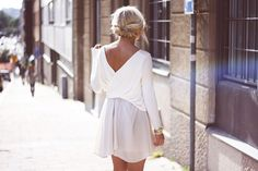 Flowing Long-Sleeve White Top and Cream Sheer Flowing Skirt, Rolled/Braided Bun