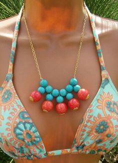 Collar cuentas turquesa y coral