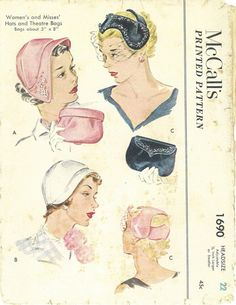 Vintage Sewing Pattern McCalls 1690 Women's and Misses' Hat and Theatre… Hat Patterns To Sew, Mccalls Sewing Patterns, Vintage Sewing Patterns, 1950s Hats, Patron Vintage, Vintage Outfits, Vintage Fashion, Image Mode, Mode Vintage
